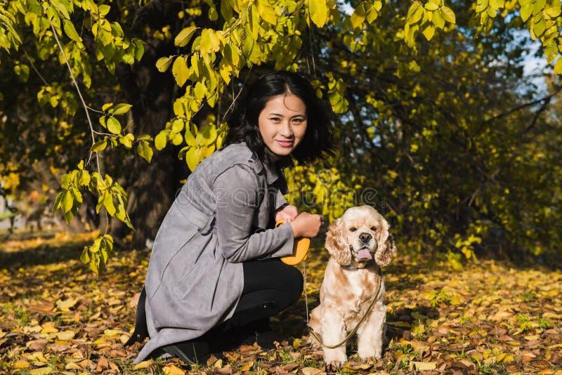 Gioco asiatico della donna con il cane nel parco di autunno fotografia stock libera da diritti