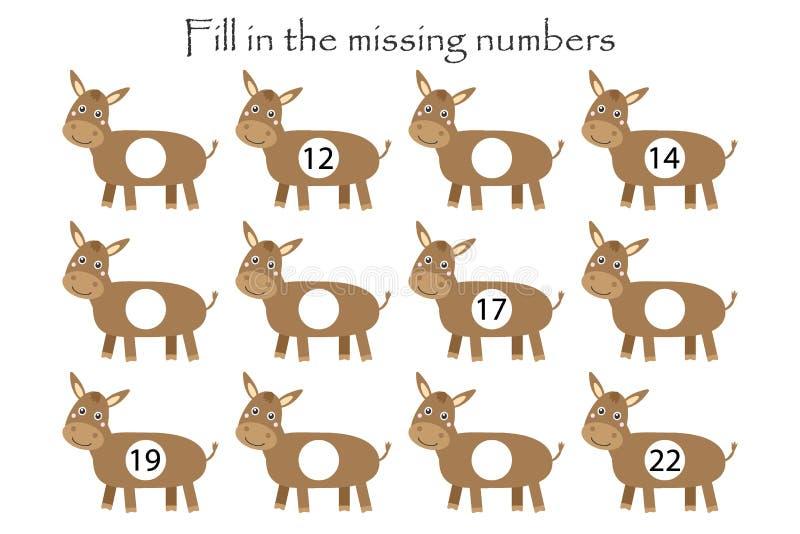 Gioco con asini per bambini, compilare i numeri mancanti, livello intermedio, gioco educativo per bambini, attività del foglio di illustrazione vettoriale