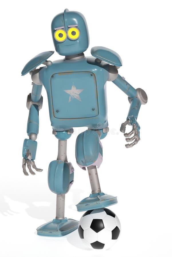 Gioco d'annata del robot di lerciume nel calcio di calcio rappresentazione 3d immagine stock libera da diritti