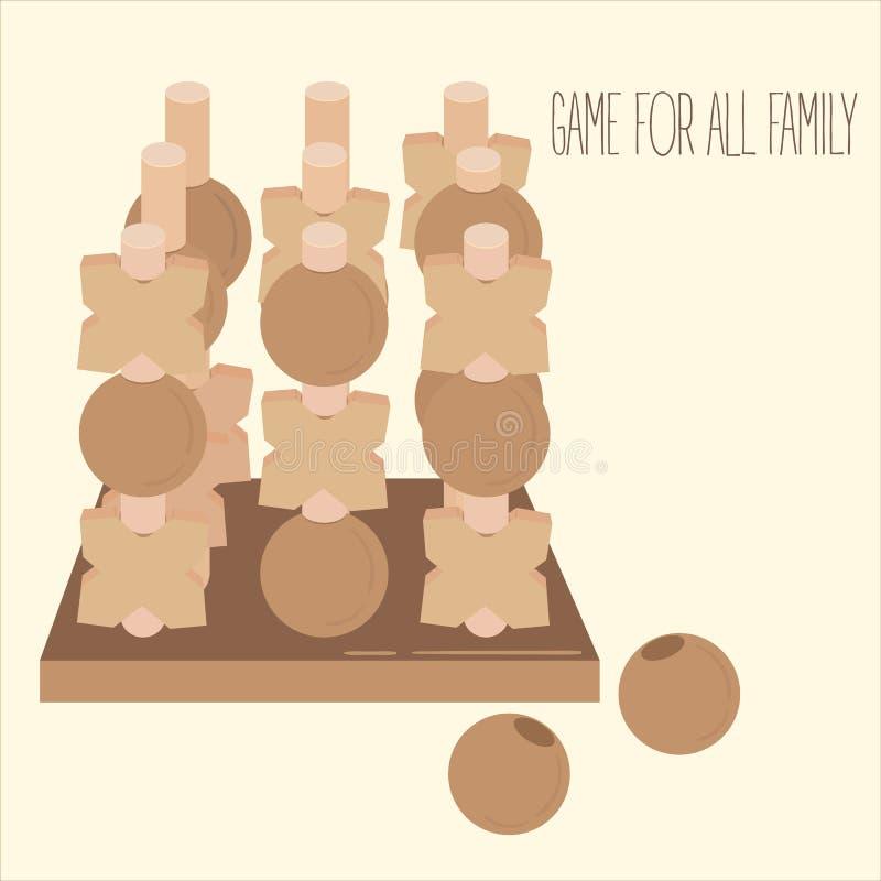 Gioco da tavolo 3-D di legno di strategia del dito del piede di tac di tic royalty illustrazione gratis