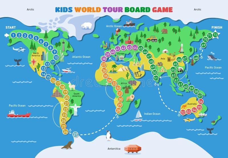 Gioco da tavolo della mappa di gioco del mondo di vettore del gioco da tavolo con l'insieme dell'illustrazione di gameboard dei c royalty illustrazione gratis