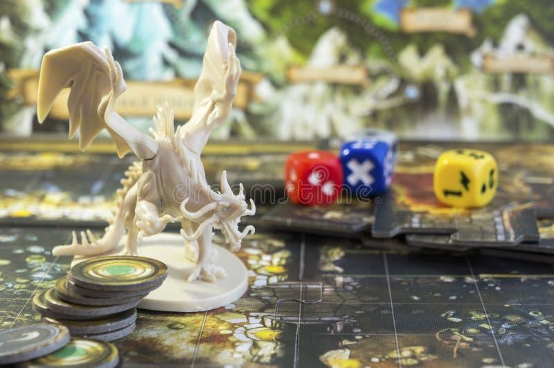 Gioco da tavolo di discesa, gioco di ruolo, torrioni e draghi, dnd fotografia stock libera da diritti