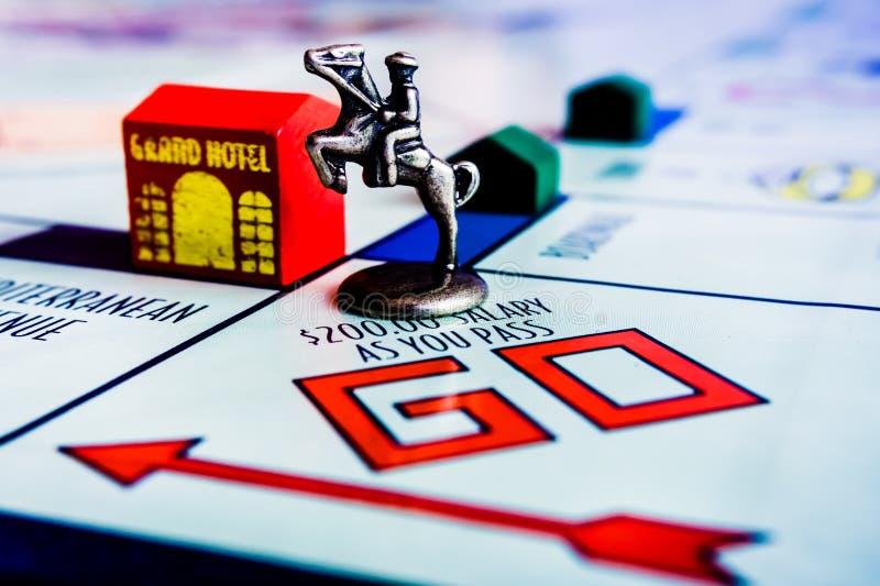 Gioco da tavolo di monopolio - segno del cavallo sulla scatola GO fotografia stock