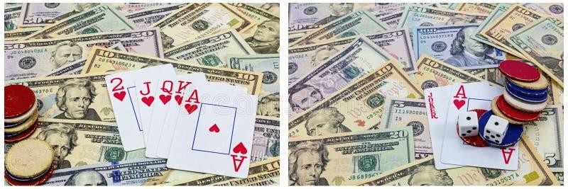 Gioco dei contanti delle carte di chip della mazza immagini stock libere da diritti