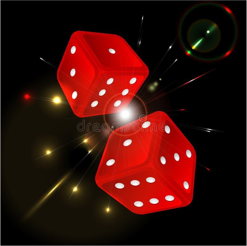 Gioco dei dadi di colore rosso illustrazione vettoriale