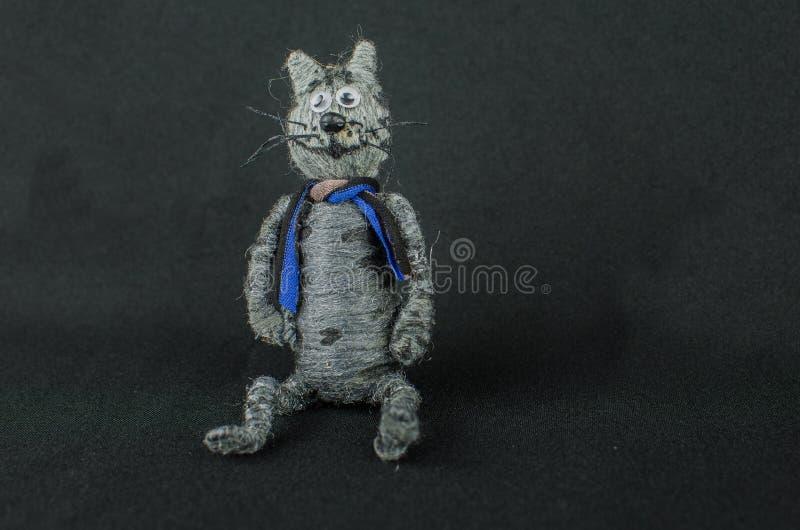gioco del bambino con il gatto fatto a mano Isolato fotografie stock