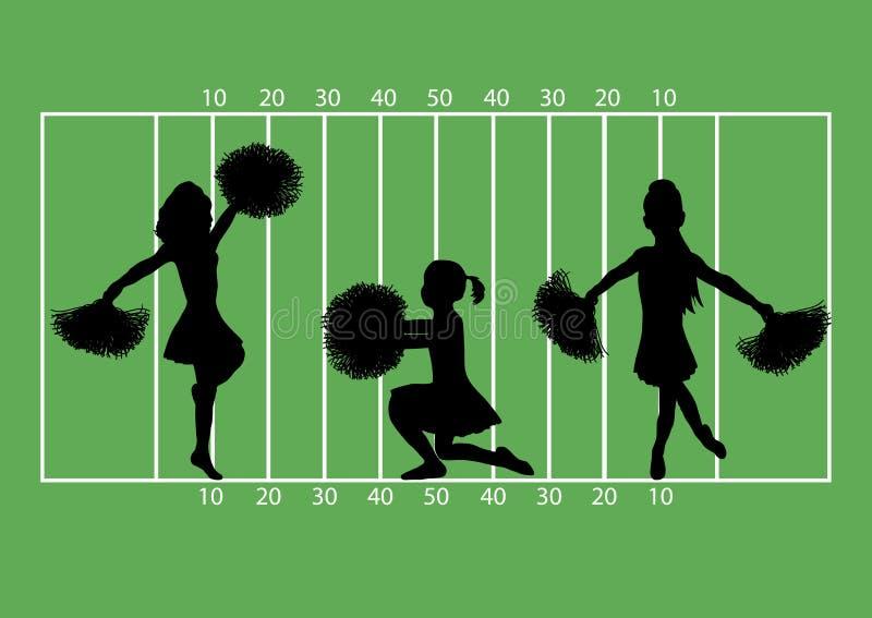 Gioco del calcio 4 delle ragazze pon pon illustrazione vettoriale
