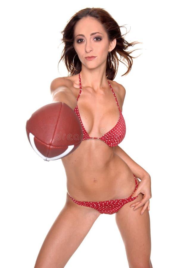 Gioco del calcio del bikini fotografia stock