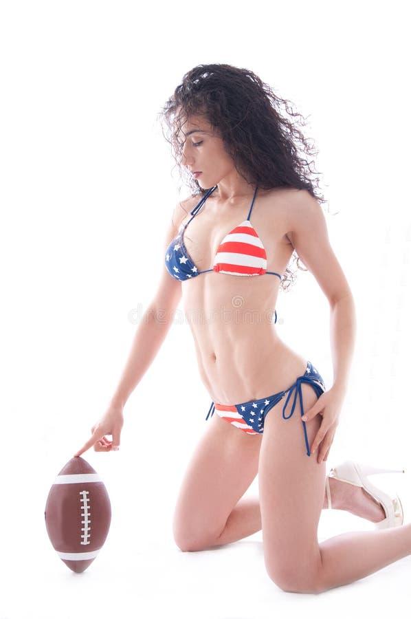 Gioco del calcio del bikini degli S.U.A. fotografie stock