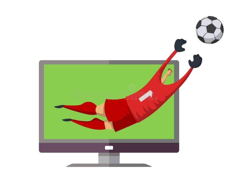 Gioco del calcio sulla TV Saltare del portiere dello schermo della TV per prendere la palla Illustrazione piana di vettore Isolat illustrazione vettoriale