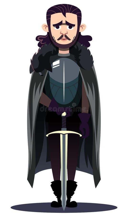 Gioco del carattere dei troni: Jon Snow illustrazione vettoriale