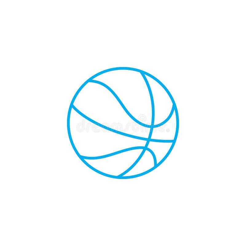 Gioco del concetto lineare dell'icona di pallacanestro Giocando la pallacanestro allini il segno di vettore, il simbolo, illustra royalty illustrazione gratis