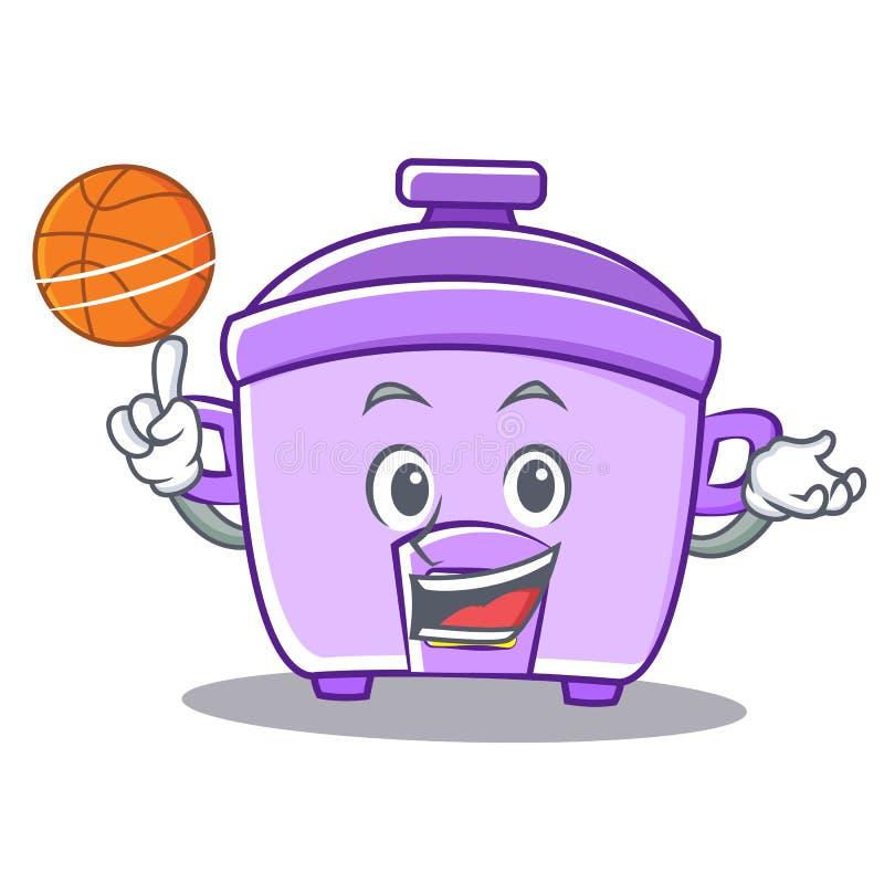 Gioco del fumetto del carattere del fornello di riso di pallacanestro illustrazione vettoriale