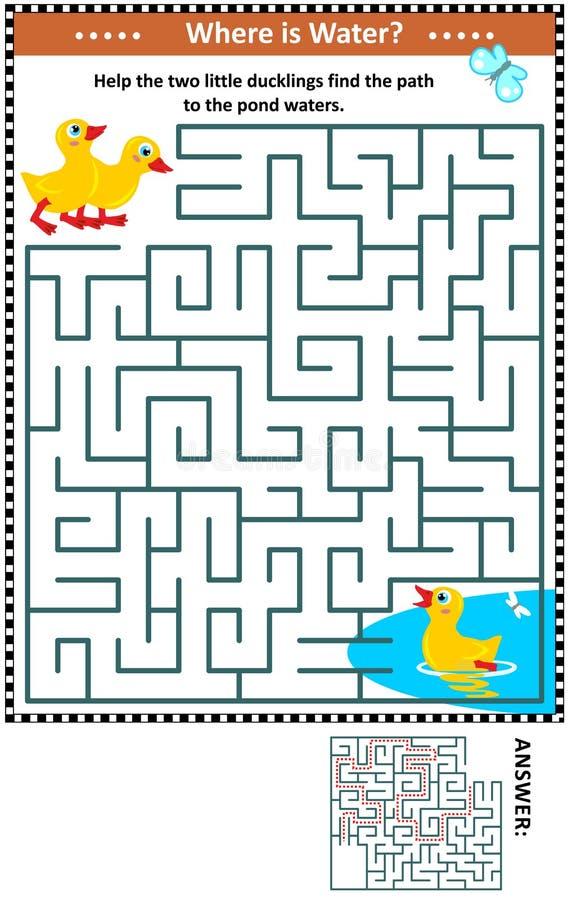 Gioco del labirinto con gli anatroccoli e lo stagno royalty illustrazione gratis