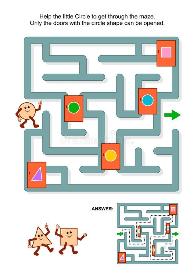 Gioco del labirinto con il cerchio e le porte contrassegnate illustrazione di stock