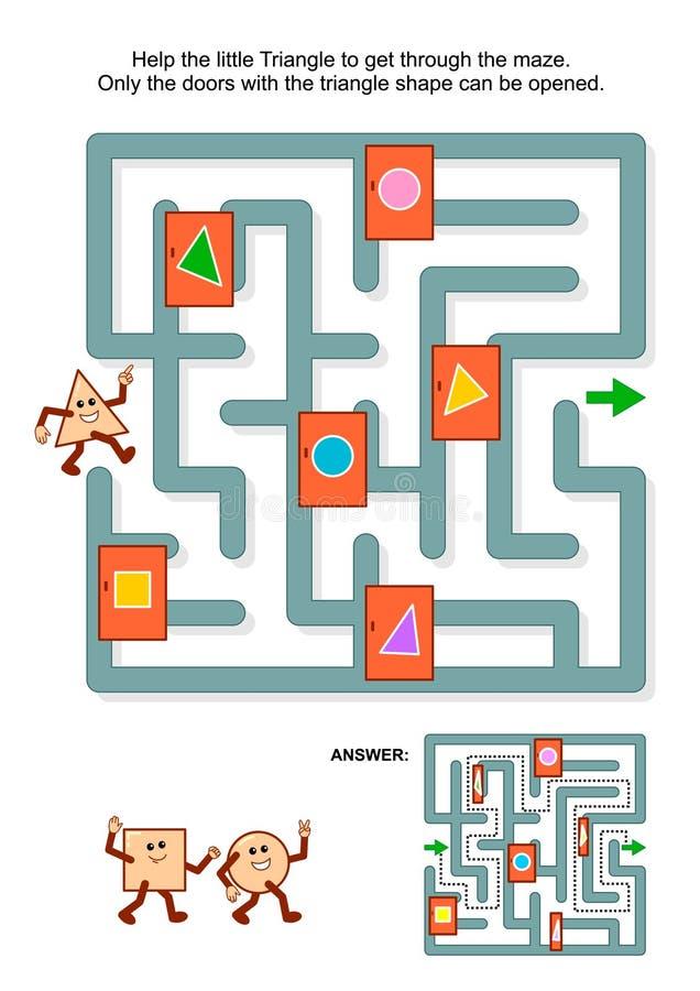 Gioco del labirinto con il triangolo e le porte contrassegnate illustrazione vettoriale