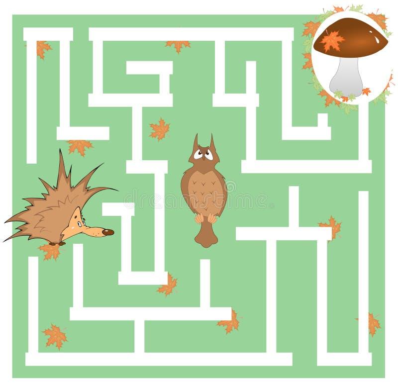 Gioco del labirinto dei bambini circa un istrice e un fungo immagine stock