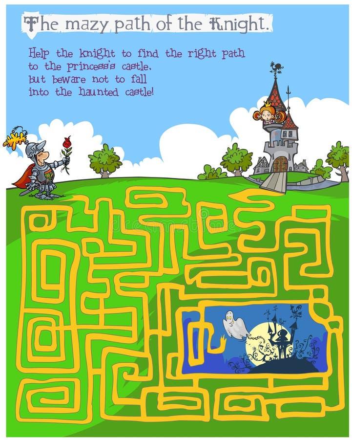 Gioco del labirinto dei bambini di favola illustrazione di stock