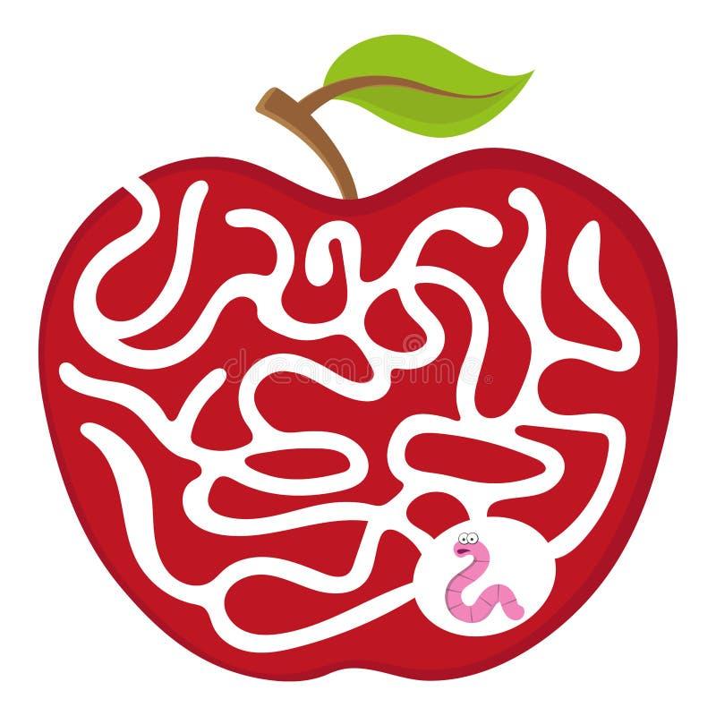 Gioco del labirinto del fumetto per i bambini numerici Verme 01 con l'illustrazione di puzzle di vettore del labirinto della mela immagine stock