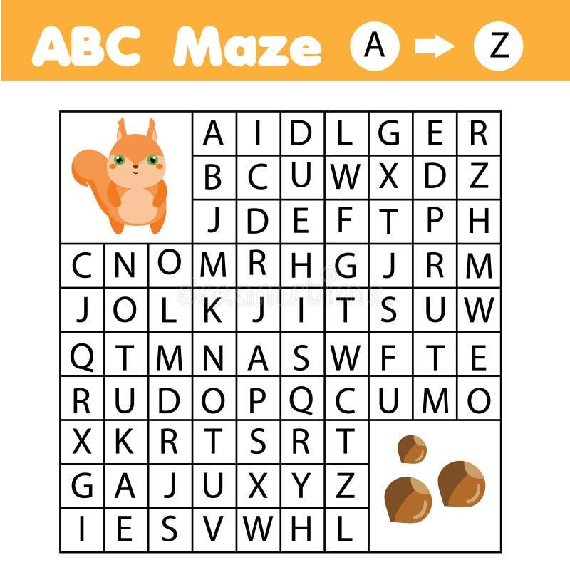 Gioco del labirinto per i bambini Aiuti lo scoiattolo a passare attraverso il labirinto Pagina di divertimento per i bambini ed i royalty illustrazione gratis