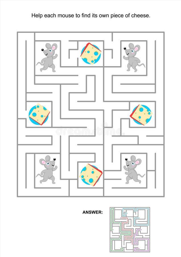 Gioco del labirinto per i bambini con i topi e le fette del formaggio illustrazione vettoriale