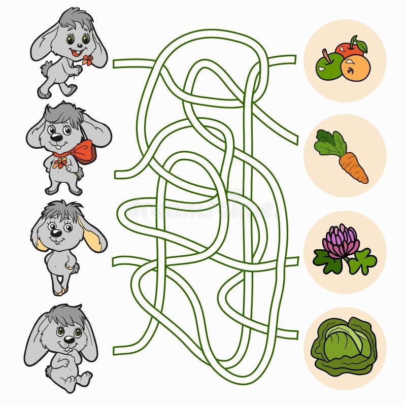 Gioco del labirinto per i bambini (conigli) illustrazione vettoriale