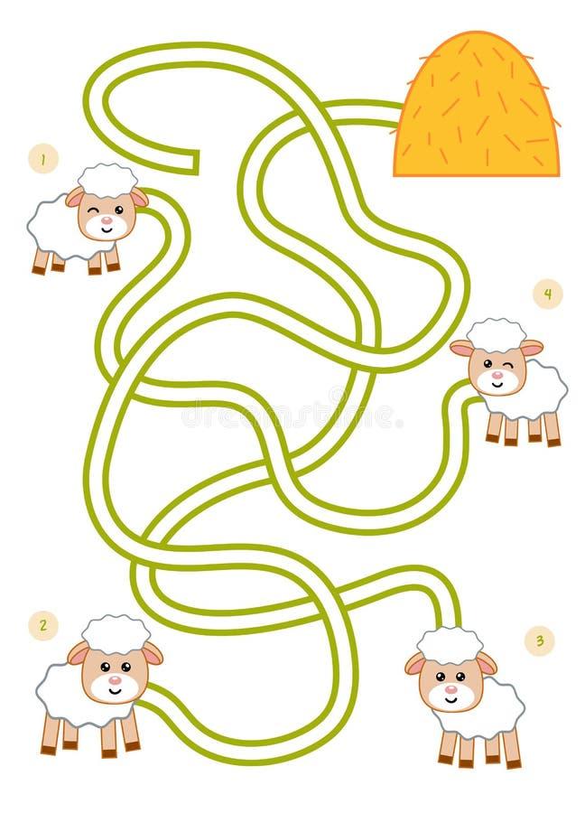 Gioco del labirinto per i bambini, l'agnello ed il mucchio di fieno illustrazione vettoriale