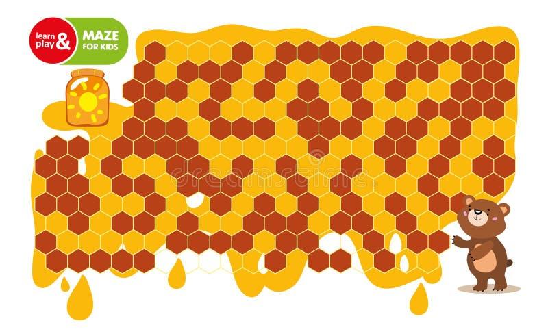 Gioco del labirinto per i bambini Orso di aiuto da ottenere alle banche di miele Sviluppo di pensiero logico, orientamento nello  royalty illustrazione gratis