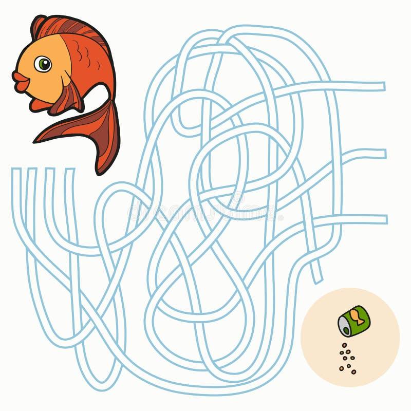 Gioco del labirinto per i bambini (pesce) illustrazione di stock