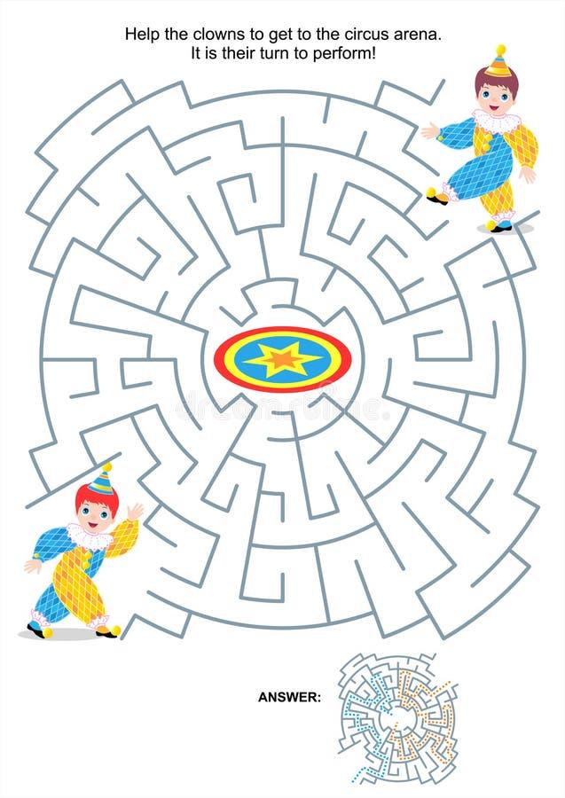 Gioco del labirinto per i bambini - piccoli pagliacci royalty illustrazione gratis