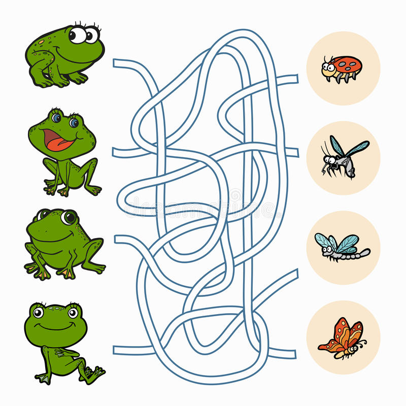 Gioco del labirinto: Rane di aiuto per trovare alimento illustrazione di stock