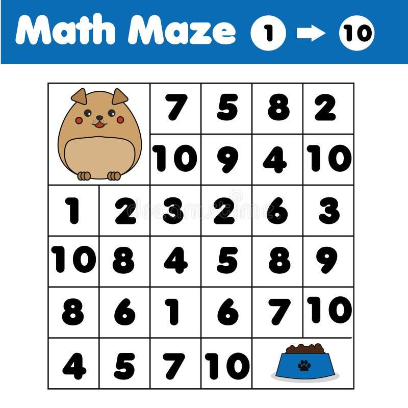 Gioco del labirinto, tema degli animali Scherza la scheda di attività Labirinto di matematica con i numeri Contando uno - dieci royalty illustrazione gratis