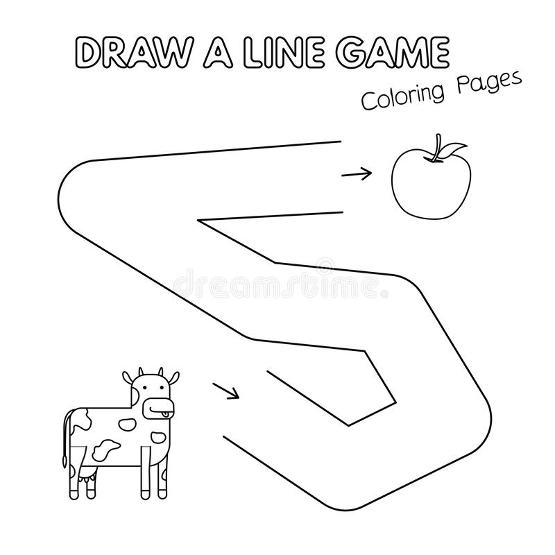 Gioco del libro da colorare della mucca del fumetto per i bambini illustrazione vettoriale