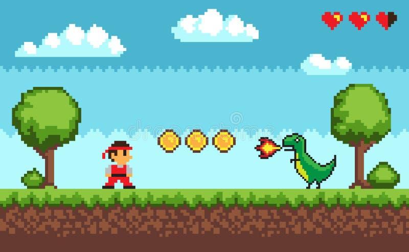 Gioco del pixel, duello fra l'uomo e Dragon Vector royalty illustrazione gratis