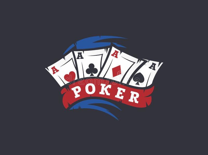 Gioco del poker professionale dell'emblema di logo di vettore moderno illustrazione vettoriale