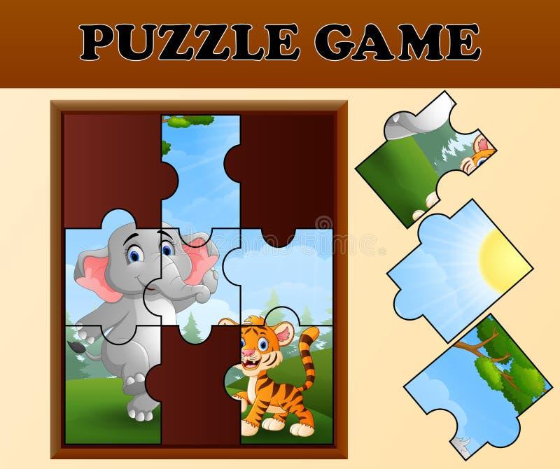 Gioco del puzzle con gli animali selvatici felici royalty illustrazione gratis
