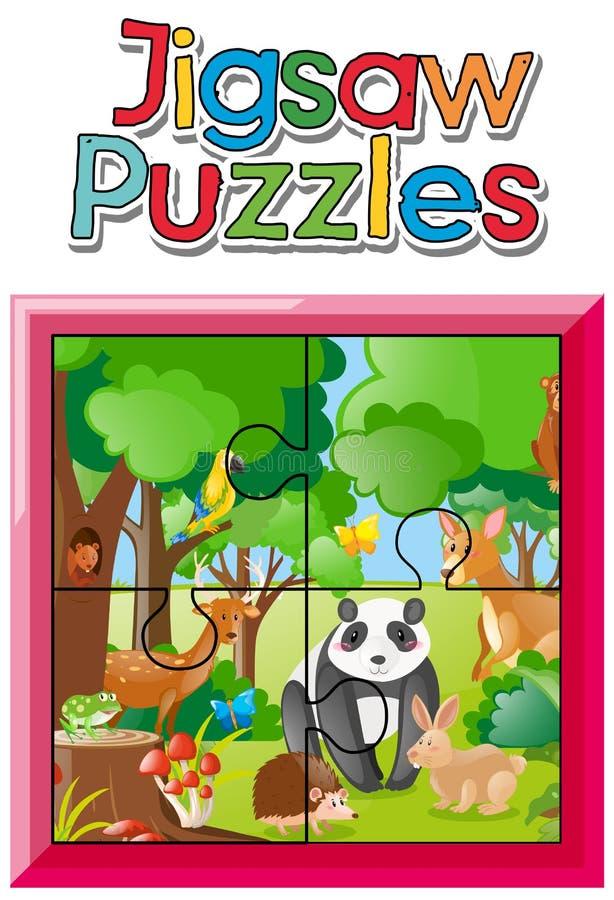 Gioco del puzzle con gli animali selvatici in giungla illustrazione di stock