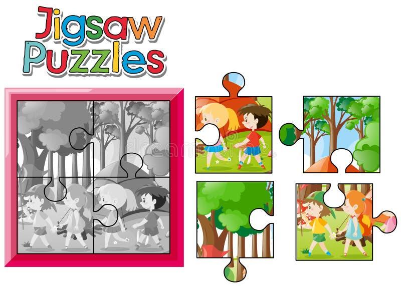Gioco del puzzle con i bambini che si accampano fuori illustrazione di stock
