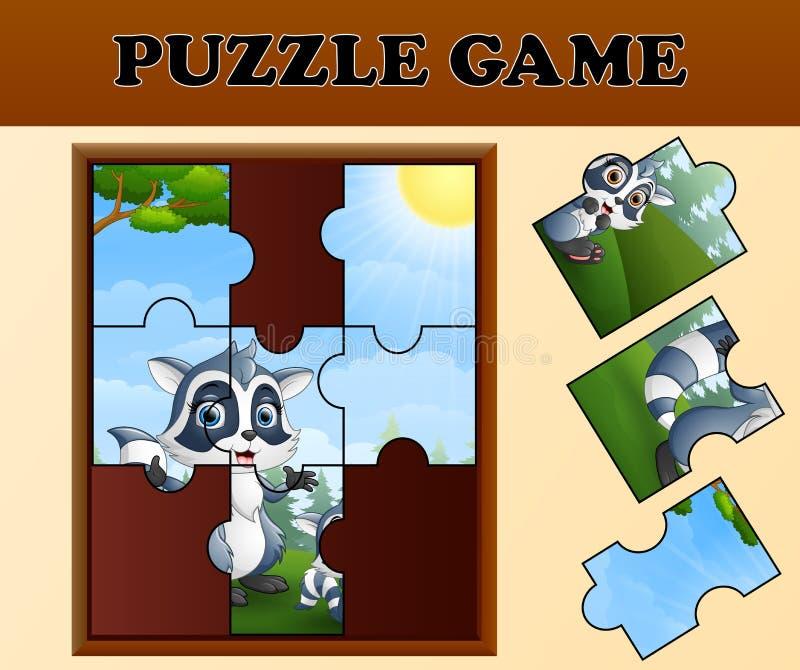 Gioco del puzzle con il procione felice royalty illustrazione gratis