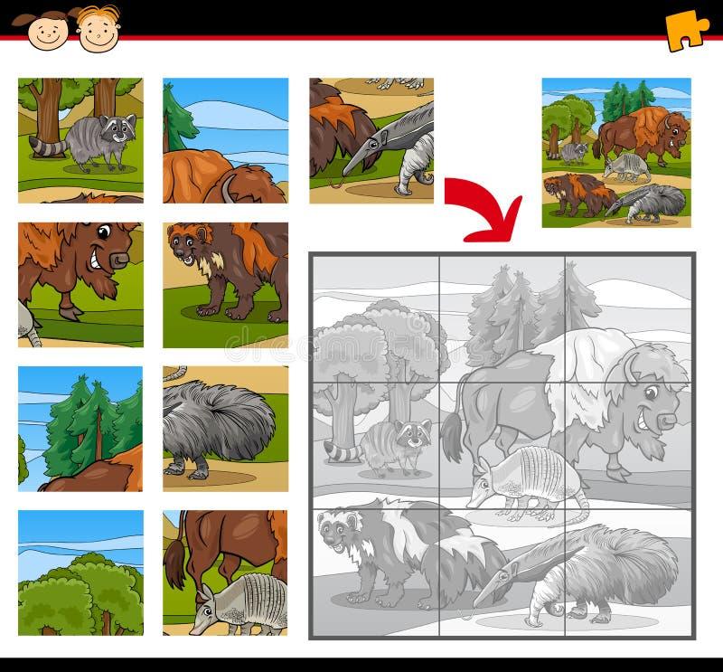 Gioco del puzzle degli animali selvatici illustrazione vettoriale