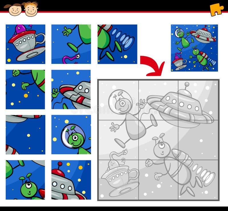 Gioco del puzzle degli stranieri del UFO illustrazione vettoriale