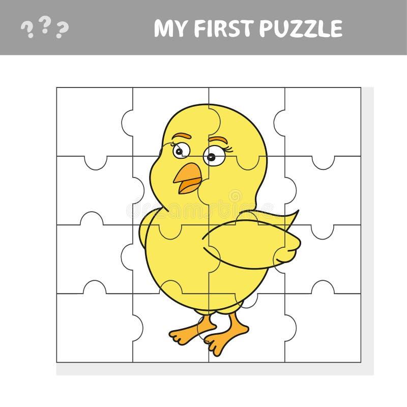 Gioco del puzzle di istruzione del fumetto per i bambini in età prescolare con il pollo illustrazione vettoriale