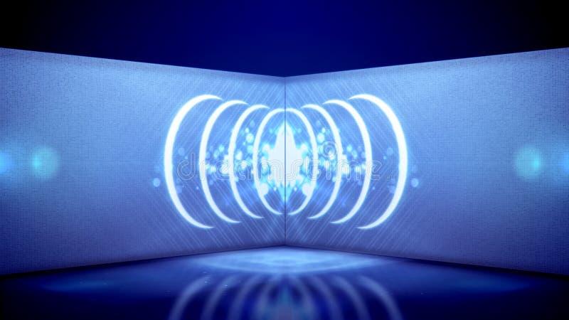 Gioco del tubo al neon degli ovali caleidoscopici illustrazione di stock