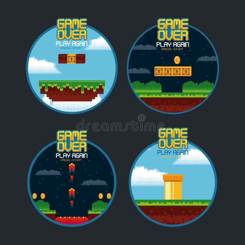 Gioco del videogioco sopra gli emblemi illustrazione di stock