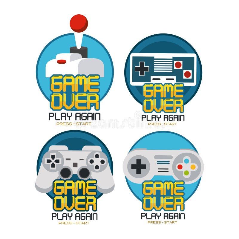 Gioco del videogioco sopra gli emblemi illustrazione vettoriale
