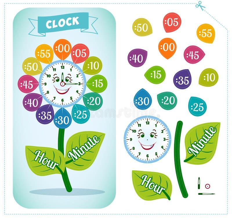 Gioco dell'autoadesivo dell'orologio per i bambini illustrazione di stock