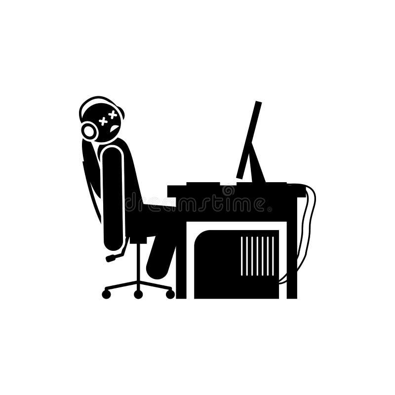 gioco dell'uomo sopra l'icona Elemento dell'icona del gamer per i apps mobili di web e di concetto Il gioco dell'uomo di glifo so illustrazione vettoriale