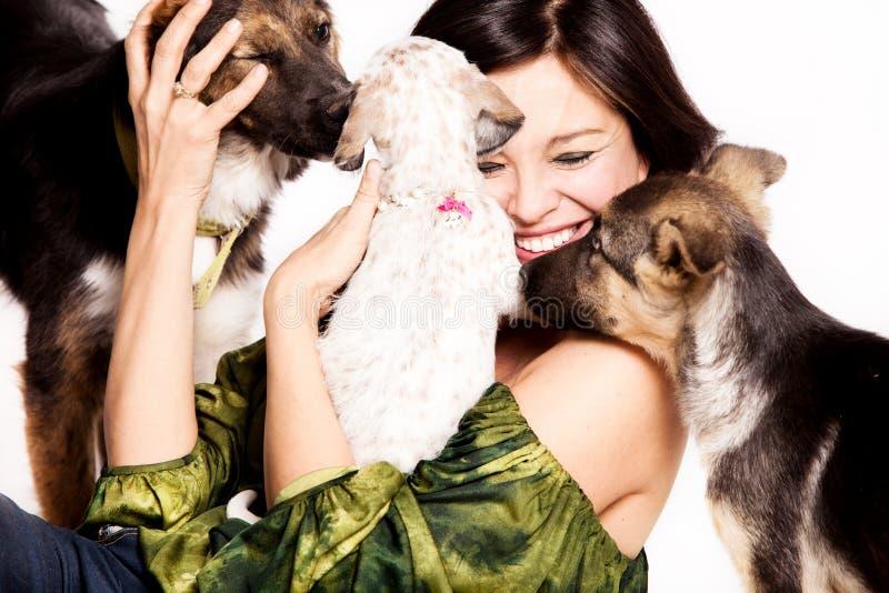 Gioco della donna con i cani fotografie stock