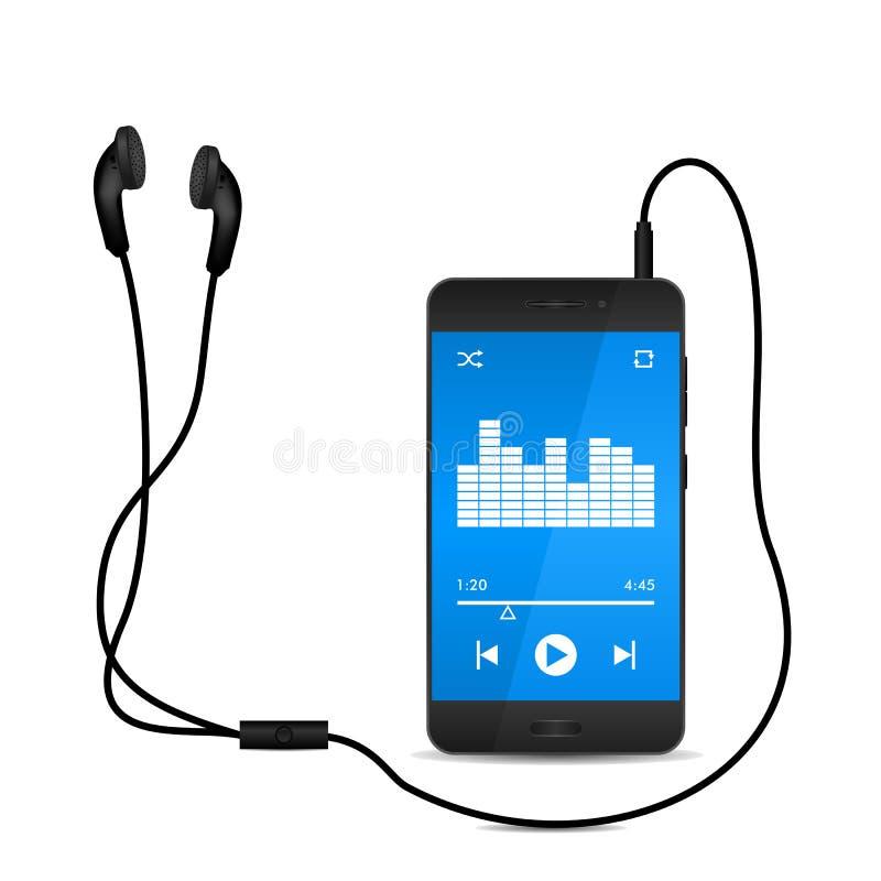 Gioco della musica sul telefono cellulare con il trasduttore auricolare, illustrazione di vettore illustrazione di stock