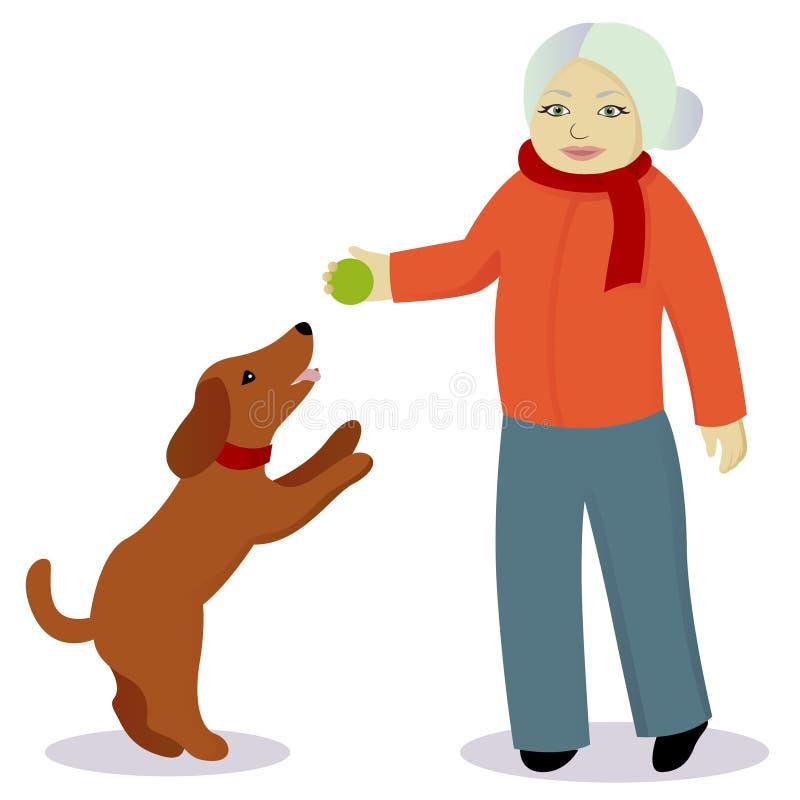 Gioco della nonna con il cane illustrazione di stock